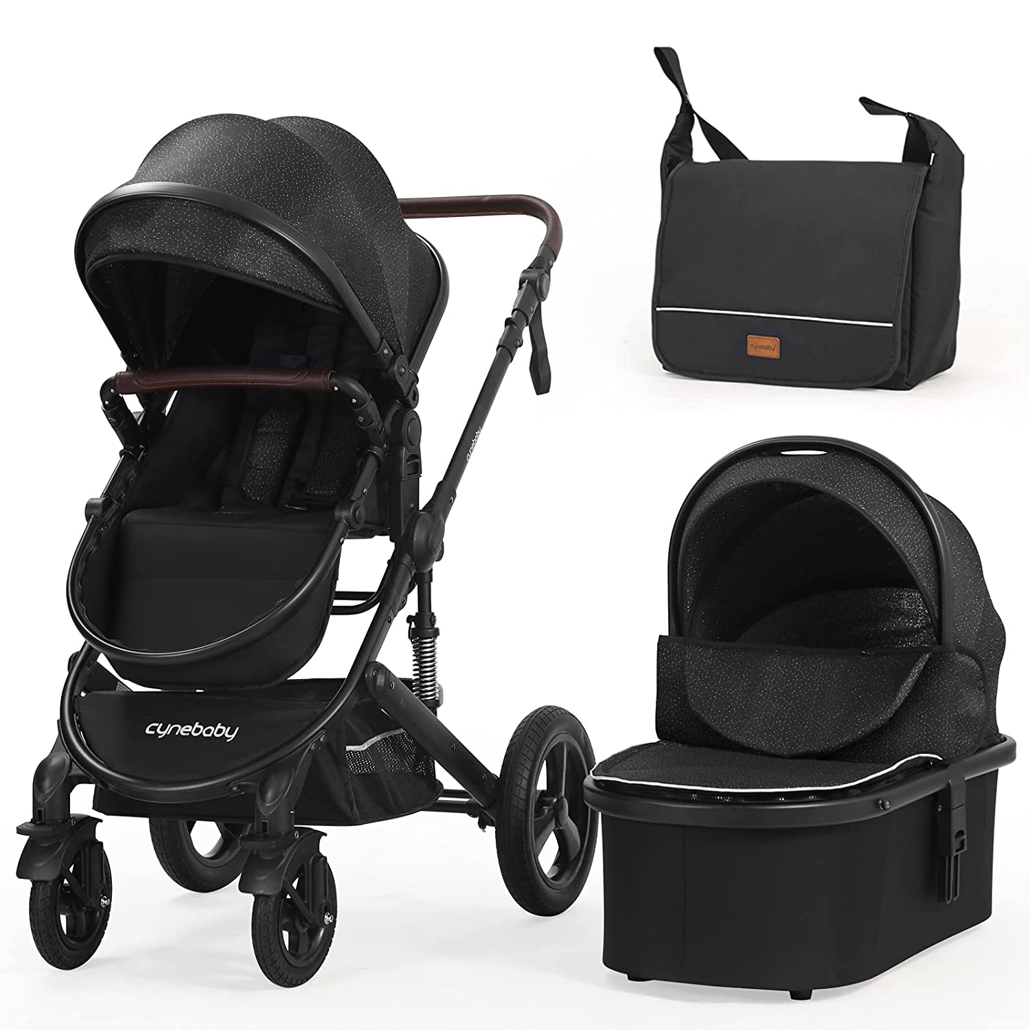 Newborn Infant Toddler Baby Stroller - Cynebaby 2 in 1 High Landscape Convertible Reversible Anti-Shock Bassinet Carriage Pram Stroller Add Cup Holder, Footmuff and Diaper Bag (Starry Night)