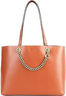 Signature Chain Leather Medium Tote Bag
