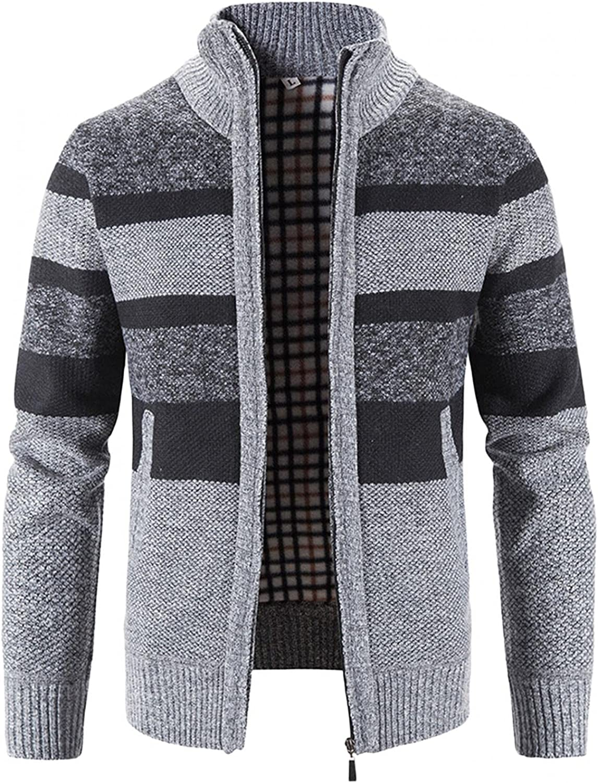 Huangse Men's Stand Collar Full Zip Knit Long Cardigan Color Block Ruffle Fashion Sweater Drape Cape Autumn Knit Jacket