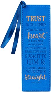 Christian Art Gifts Blue Faux Leather Bookmark | Trust In The Lord - Proverbs 3:5 Bible Verse Inspirational Bookmark for W...