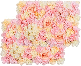 """Pauwer Artificial Flower Wall Panels 2 Pack of 16 x 24"""" Flower Wall Mat Silk Rose Flower Panels for Backdrop Wedding Wall ..."""