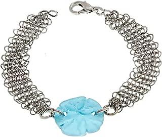Sand Dollar Sea Glass and Mesh Bracelet 7.5