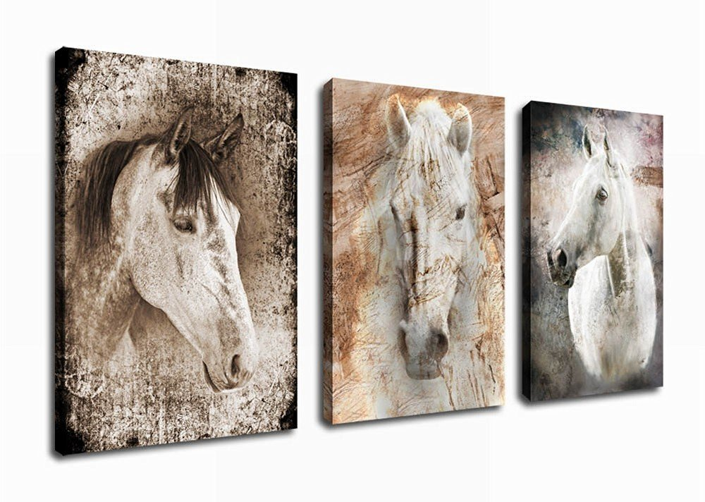 Canvas Wall Art Horse Painting Abstract Canvas Prints Framed Ready to Hang - 3 Pieces Framed  sc 1 st  Amazon.com & Home Interiors Wall Pictures: Amazon.com