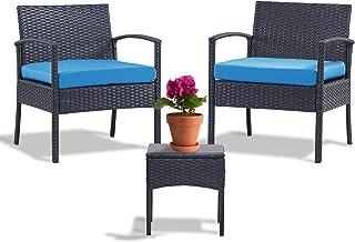 Leasbar Outdoor Chairs Set Bistro Set 3 Pieces Patio...