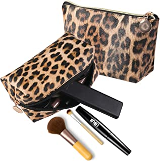 Makeup Bag,Leopard Print Cosmetic Lipstick Cute Pouch Toiletry Travel bag and Brush Organizer Purse Handbag 2 Pack for Women Girls