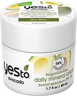 Yes To Avocado I Fragrance-Free Daily Mineral Lotion Broad Spectrum SPF 15 1.7 Fl Oz I Dry Skin I Nourish & Protect Skin I...