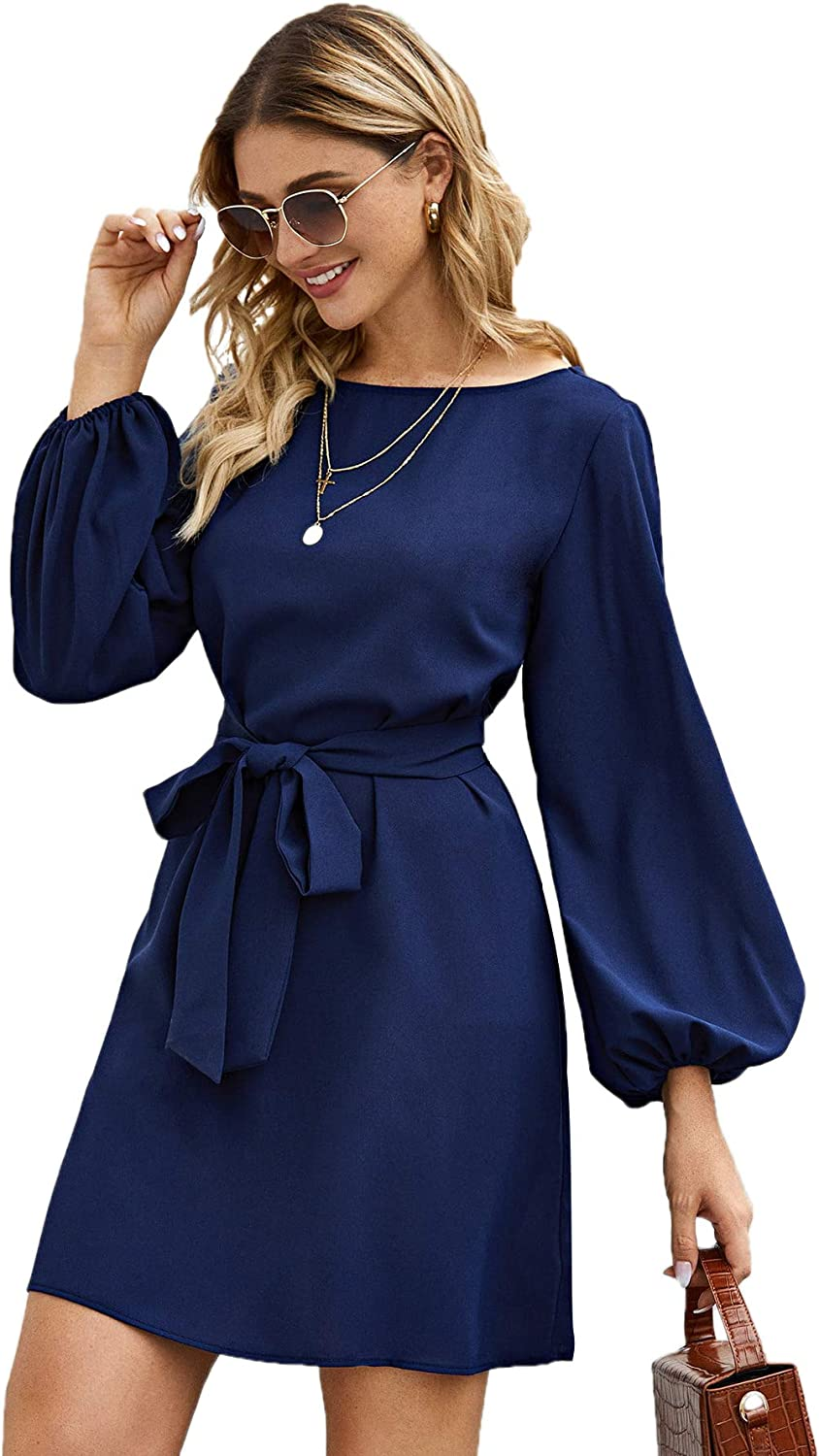 Milumia Women's Party Cocktail Long Sleeve Boat Neck Self Tie Waisted Knot Tunic Dress