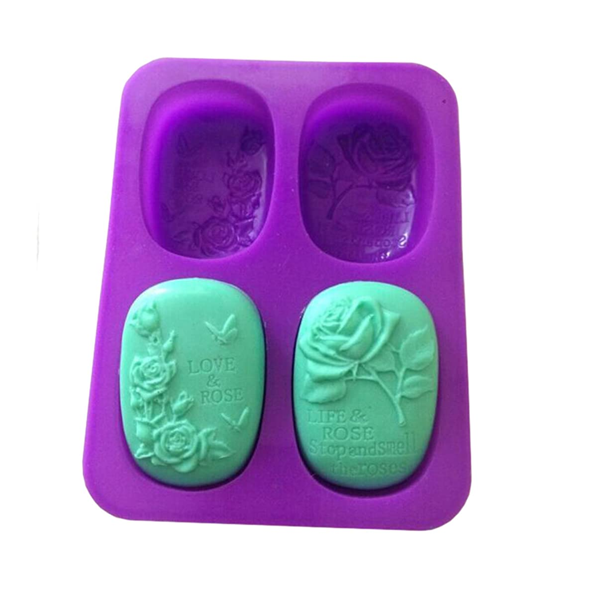 Love Life Rose Soap Mold Rectangular Lotion Bar Silicone Flower Molds Making Supplies,Set of 2