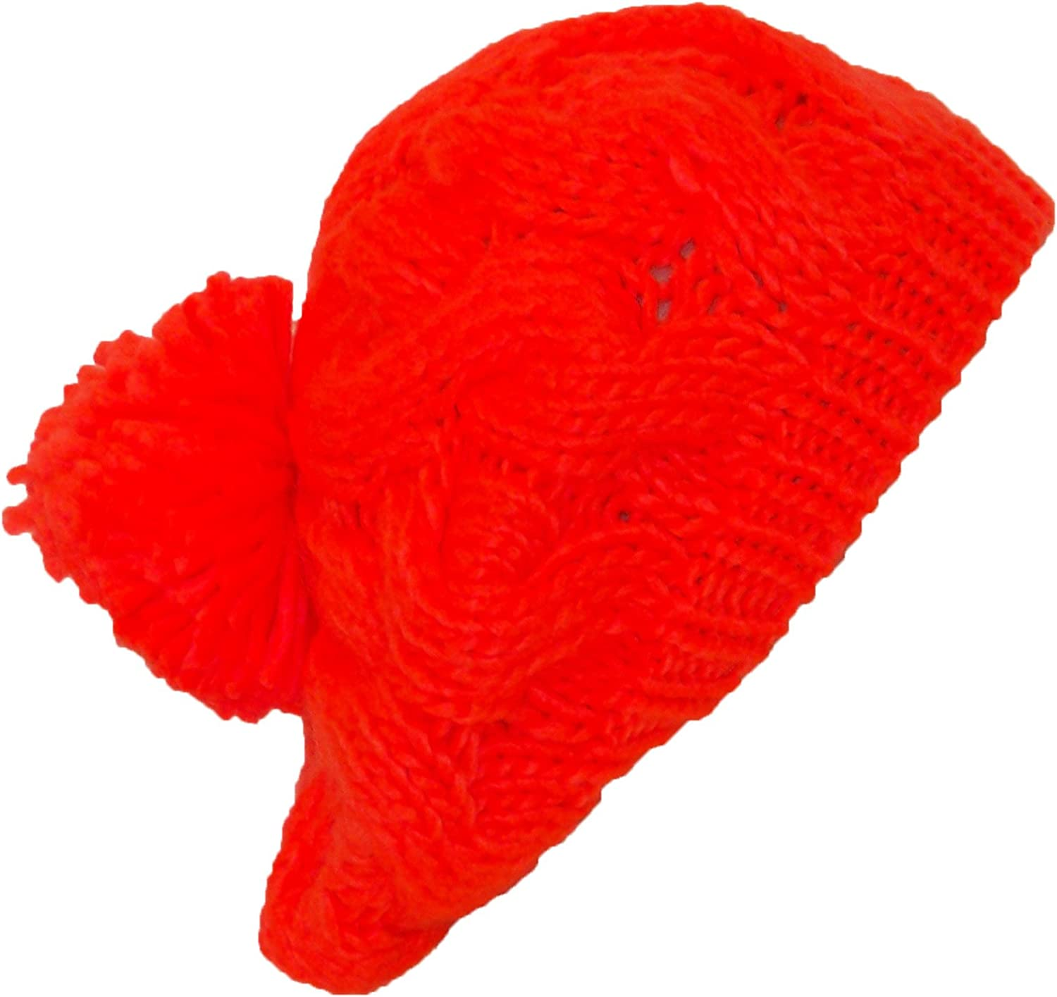 Papillon Hand Knit Solid Color Cable Knit Winter Beret W/Large Pom Pom(One Size)