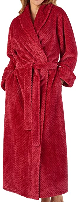 Slenderella Ladies Long Sleeve Waffle Houndstooth Knit Dressing Gown Robe Wrap