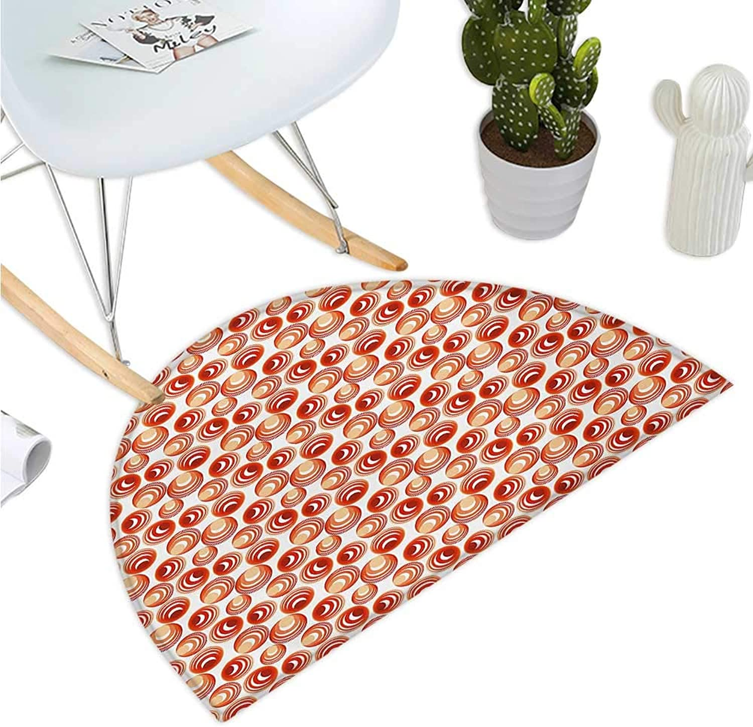Red Semicircular Cushion Geometric Circles Rounds Vintage Retro Design Image on White Backdrop Entry Door Mat H 39.3  xD 59  Scarlet Vermilion and Ruby