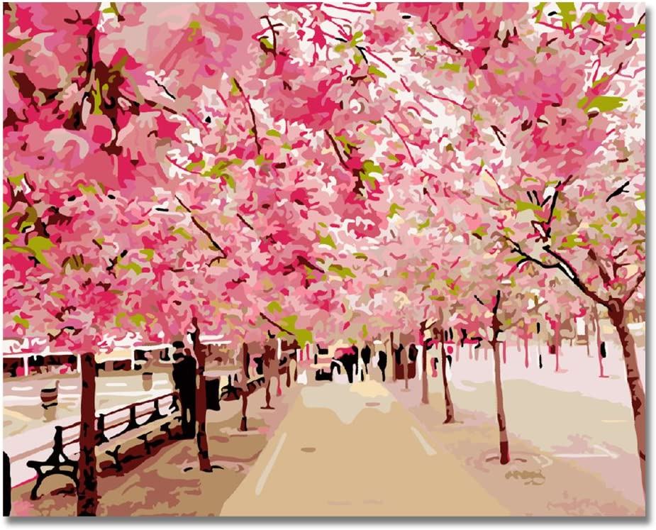 LIUDAO Paint by Number Drawing with Brushes, DIY Oil Painting for Kids Beginner 16x20 Inch Pink Cherry Blossoms (Without Frame)