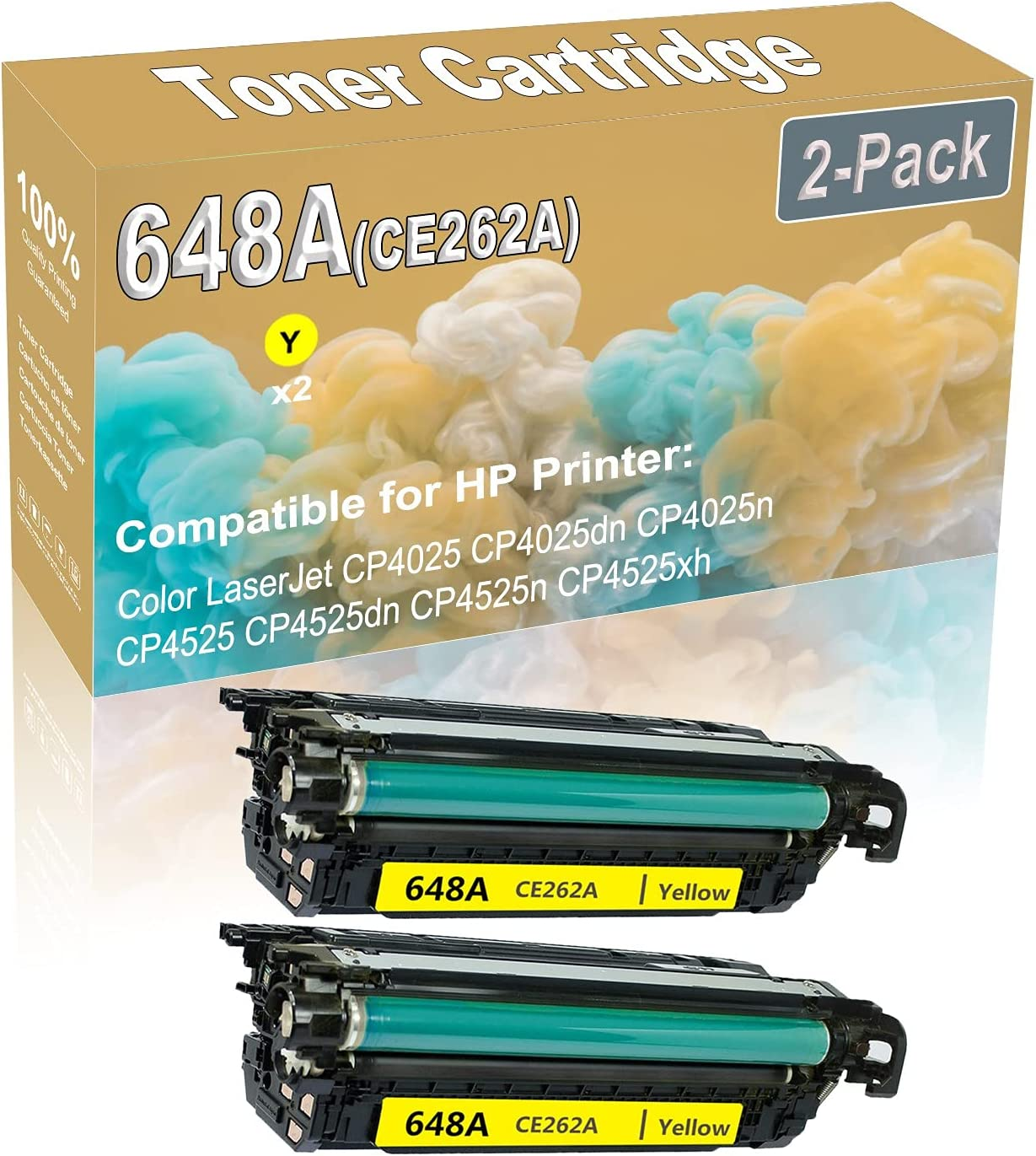 2-Pack (Yellow) Compatible High Yield 648A (CE262A) Printer Toner Cartridge use for HP CP4025 CP4025dn Printers