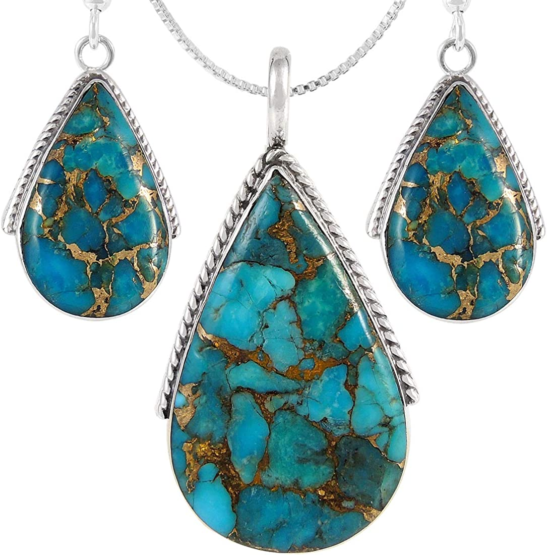 Deep Black Sterling Silver Dainty Jewelry Turquoise Set Almond Shape Bright Blue Tribal, Earrings and Pendant Set Blue Turquoise