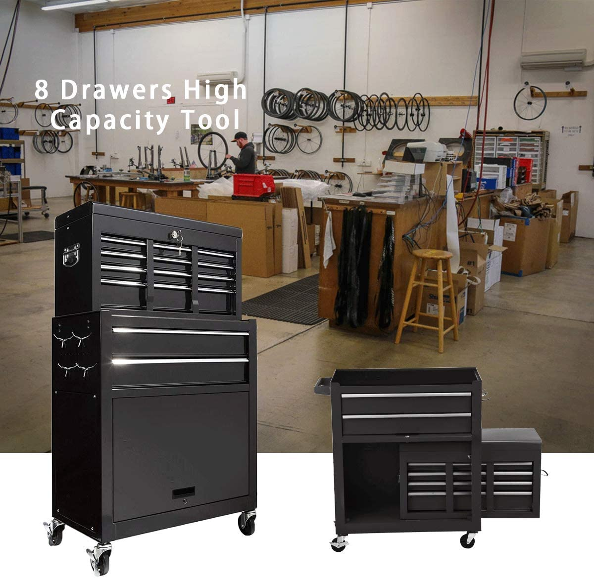 8-Drawer High Capacity Tool chest Tool Box,Rolling Tool Box,Big Tool Storage Cabinet and Tool Chest with 4 Wheels and Lockable Drawers Tool Chest for Garage and Warehouse BLACK TOOLBOX