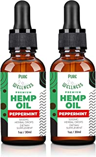 (2-Pack Peppermint) Hemp Oil Extract – 5,000MG – Organic Hemp Oil Powerful Herbal Supplement – Pure Hemp Seed Oil and Esse...