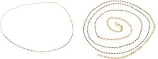 Sanjog Women's Stylish Single Line Gold & Silver Plated Kundan Kamarband Belly Chains for Women - Pack of 2