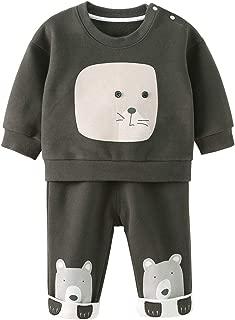 pureborn Toddler Baby Boy 2 Pcs Cartoon Long Sleeve Tops and Pants Playwear Set