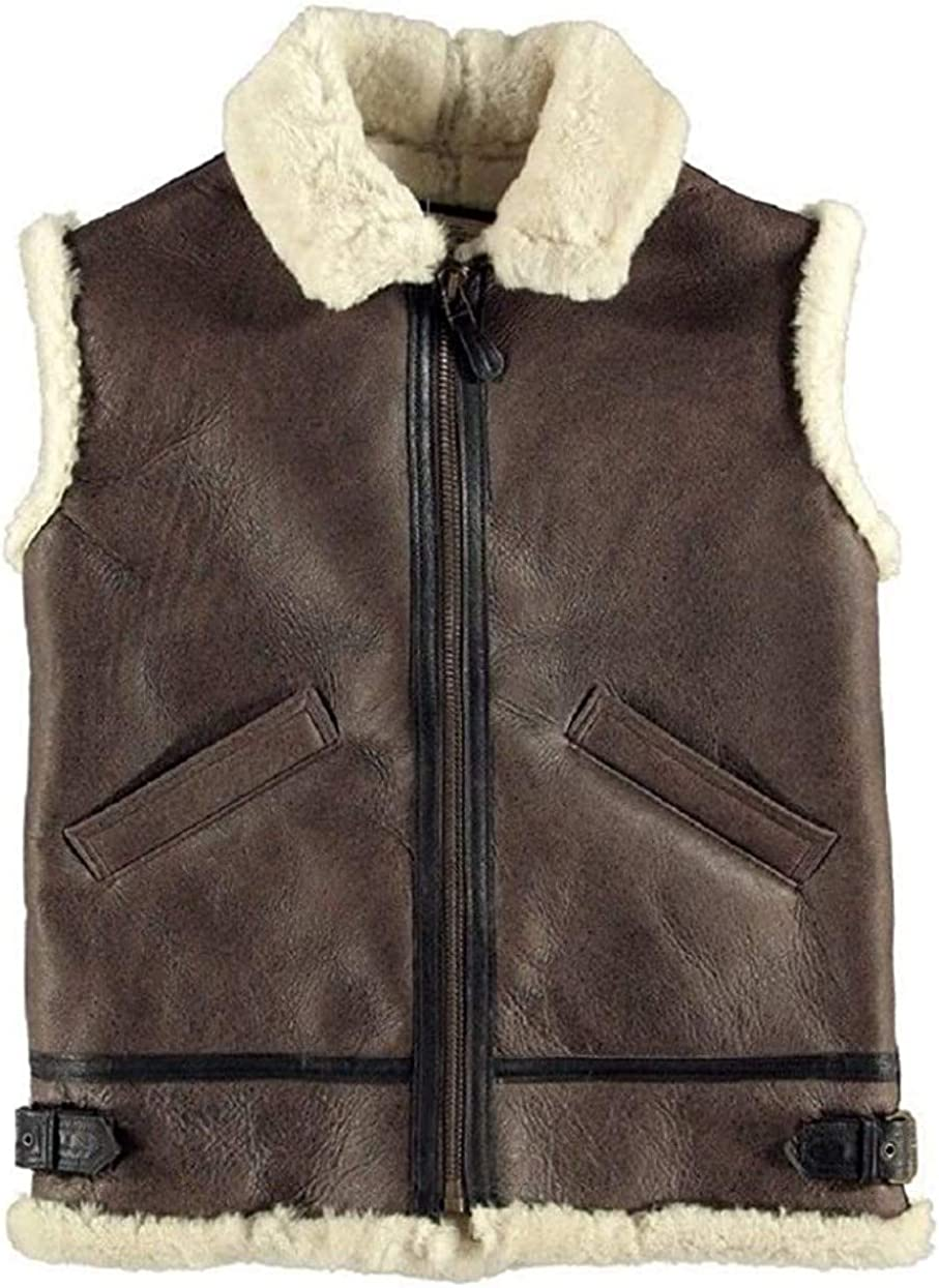 B3 Brown Bomber White Real Shearling Sheepskin Leather Winter Vest
