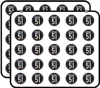 Round Bears Classic #51 Dick Butkus (Number Chicago da Love) Sticker for Scrapbooking, Calendars, Arts, Kids DIY Crafts, Album, Bullet Journals 50 Pack