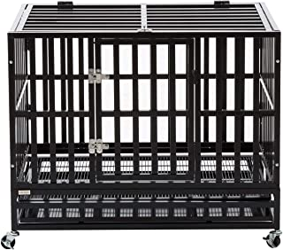 PANEY Large Heavy Duty Dog Crate Folding Mental Kennel Playpen w/Wheels & Tray Pet Home