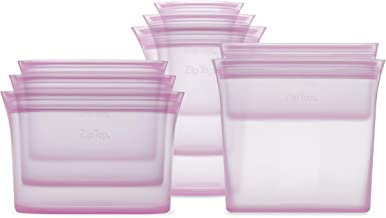 product image for Zip Top Reusable 100% Silicone Food Storage Bags and Containers - Full Set- 3 Cups, 3 Dishes & 2 Bags - Lavender