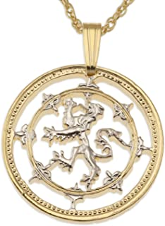 Scottish Lion Pendant & Necklace, Scotland Coin Hand Cut