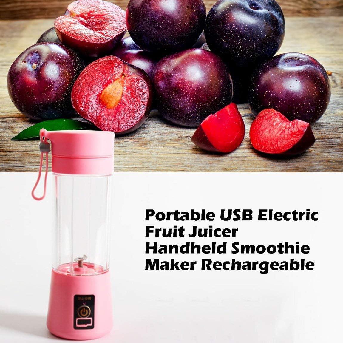 SeniorMar Tamaño portátil USB Exprimidor de Frutas eléctrico Batidora de Mano Licuadora Recargable Mini Taza de Jugo portátil Agua Rosado