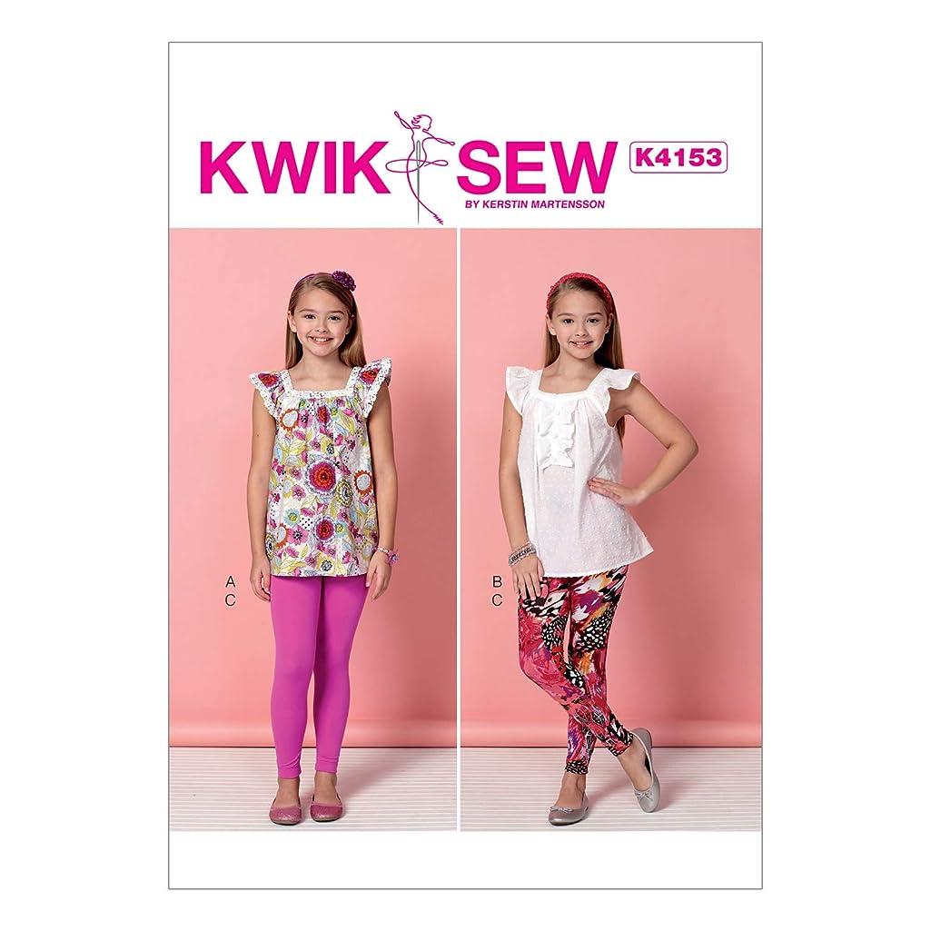 KWIK-SEW PATTERNS K4153 Girls' Square-Neckline Tops & Leggings