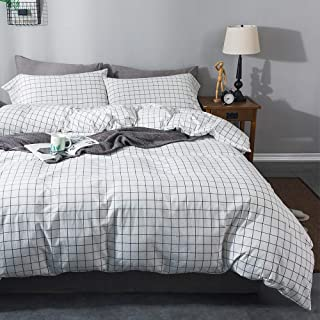 Sincethen 100% Washed Cotton Duvet Cover Set, White with Black Grid Pattern Design, Soft White Grid Bedding Set with Zipper Closure Corner Ties (3pcs, Queen Twin Size)