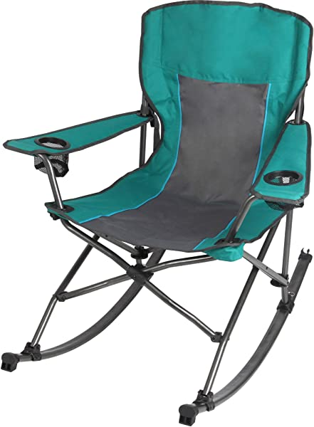 Ozark Trail Quad Fold Rocking Camp Chair With Cup Holders Green L X W X H 32 80 X 38 20 X 38 20 Inches