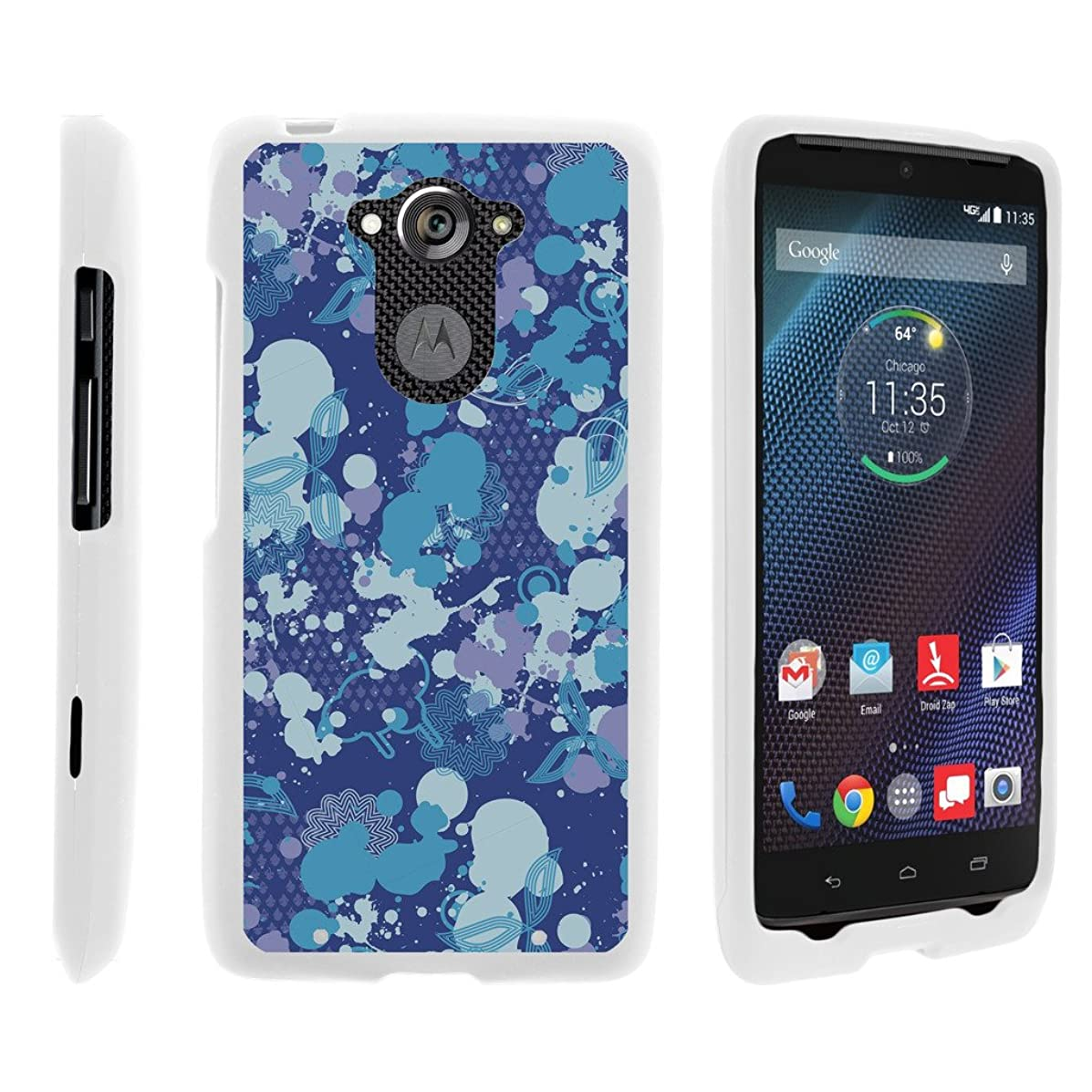 TurtleArmor | Motorola Droid Turbo Case | XT1254 | Moto Maxx Case [Slim Duo] Slim Ultra Fitted Compact Hard Cover Rubberized Coat Camouflage Case Design on White - Blue Midnight Print
