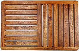 Teak Wood Bath Mat,23.6 x 15.7 Inch Deluxe Shower Bathroom Mat In Gift box, Non Slip Floor Mat for Indoor Outdoor By HTB