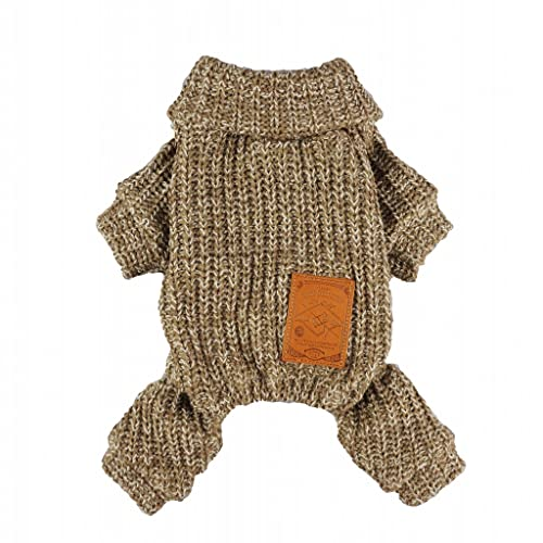 Fitwarm Turtleneck Knitted Coat for Dogs Sweaters Pet Clothes Jumper Pullover Brown