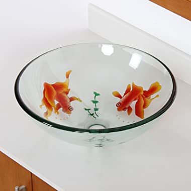 ELITE Bathroom Koi Fish Glass Vessel Sink & Chrome Single Lever Faucet Combo