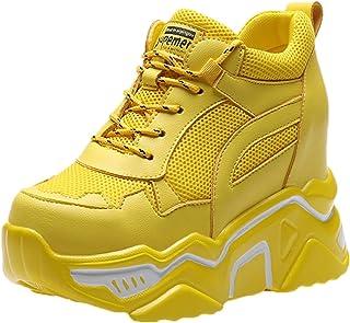 Sneakers con Zeppa nascoste da Donna Scarpe da Ginnastica con Lacci in Tinta Unita Traspiranti Antiscivolo Scarpe da Ginna...