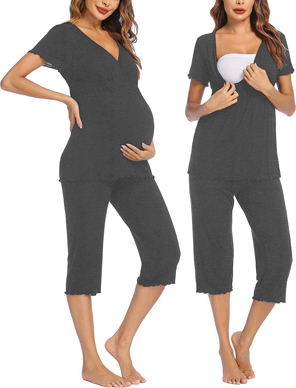 Ekouaer Women Popular brand Layered Maternity Nursing El Paso Mall Set Pajama Cotto Capri