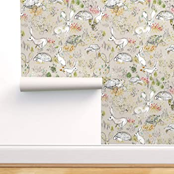 Removable Water-Activated Wallpaper Tortoise And Hare Cute Animals Children/'