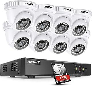 ANNKE Kit de Seguridad 8 Canal DVR de 5MP H.265+ con 1TB Disco Duro de Vigilancia + CCTV 1080P Sistema Cámaras de Vigilancia IP66 Impermeable Visión Nocturna Silencioso -1TB HDD