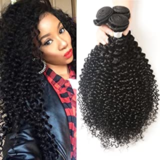 Kaisheng Brazilian kinky Curly Hair 3 Bundles, Virgin Jerry Curl Human Hair Extensions Remy Hair, 100% Unprocessed Natural Color double Weft (12 14 16)