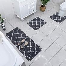 Carvapet 3 Pcs Bathroom Rugs Set Extra Soft Shaggy Microfiber Bath Mat Water Absorbent Plush Fuzzy Bath Runner U-Shaped Co...
