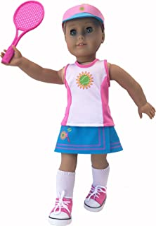 """MangoPeaches 18"""" Doll Tennis OUFIT - 8 Pc Deluxe Set -Tennis Racket -Tennis Shoes -Tennis viser -Tennis Racket Bag -Tennis Shorts -Tennis Skirt -Tennis top -Great Value Pack!!"""
