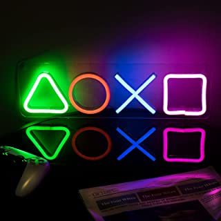 ifreelife Gaming Neon Signs(16.5''×4.96'') LED Gaming Neon Lights for Playstation Icon Bedroom Wall Decor Acrylic Board Le...