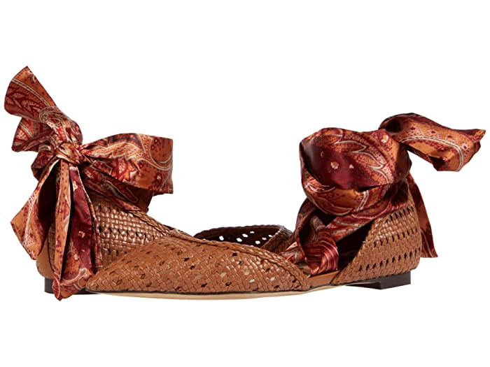 Sam Edelman  Sloane (Saddle/Orange Multi Basket Weave Leather/Floral Paisley Scarf Dr) Womens Shoes