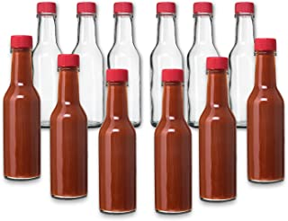 12 Pack - 5 Oz Hot Sauce Woozy Bottles, Small Empty Glass Bottles with RED Caps and Drip Dispensing Tops for Salsa, Pepper, Vinegar, Hot Sauce, Pepper Sauce, By Premium Vials