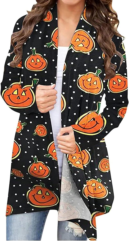 Long Sleeve Shirts for Women,Womens Halloween Long Sleeve Open Front Cardigan Funny Pumpkin Tops Lightweight Coat