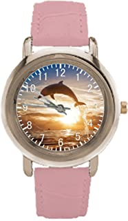 Dolphin Jumping in Sunset Womens Pink Leather Wrist Watch