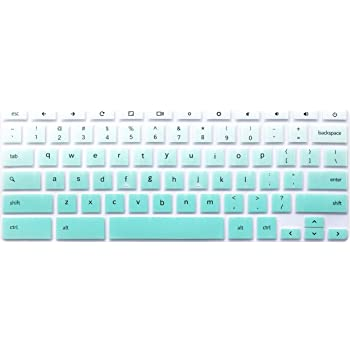 """Silicone Keyboard Cover Skin Compatible for 11.6 inch Samsung Chromebook 3 XE500C13 XE501C13, 11.6"""" Samsung Chromebook 2 XE500C12, 12.2 inch Samsung Chromebook Plus V2 2-in-1 XE520QAB Ombre Mint Green"""