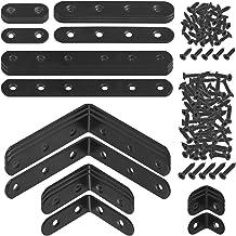 Mardatt 24 Sets Black Corner Braces L Brackets and Straight Braces Mending Plates Heavy Duty Assortment Kit with Screws Fa...