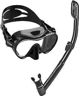 Cressi Italian Boutique Collection - Tempered Glass Lens Frameless Scuba Snorkeling Dive Mask - Splash Guard Dry Snorkel Set